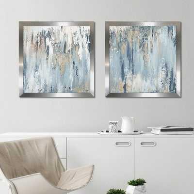 'Blue Illusion Square' 2 Piece Acrylic Painting Print Set - Wayfair
