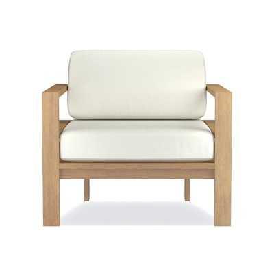 Ojai Modern, Teak, Club Chair Cushion, Sunbrella Performance Canvas, White - Williams Sonoma