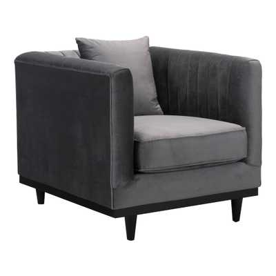 ZUO Garland Gray Velvet Arm Chair - Home Depot