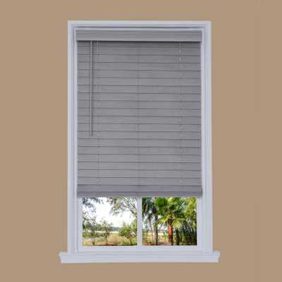 Us Shade and Shutter Cut-to-Width Steel Gray Cordless 2.5 in. Distressed Faux Wood Blind - 35.75 in. W x 72 in. L - Home Depot