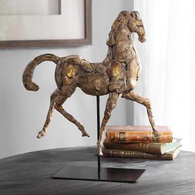 "Caballo Dorado 16 1/2""W Aged Silver w/ Gold Horse Sculpture - Style # 75F65 - Lamps Plus"