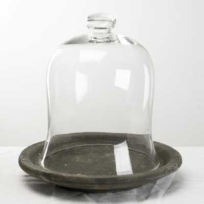 Zentique Glass Dome Display Dish with Cement Base, Distressed Grey - Home Depot
