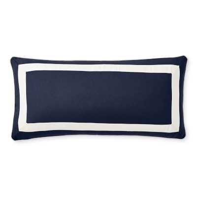 """Solid Outdoor Pillow Cover With White Border, 15"""" X 30"""", Navy - Williams Sonoma"""