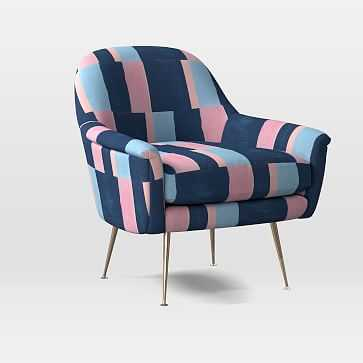 Phoebe Midcentury Chair, Poly, Colorblock, Pink Blue Multi, Brass - West Elm