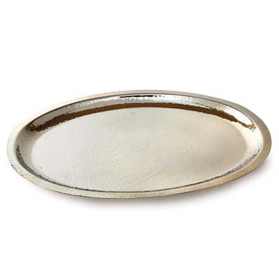 Hammered Stainless Steel Oval Tray, Silver - Home Depot