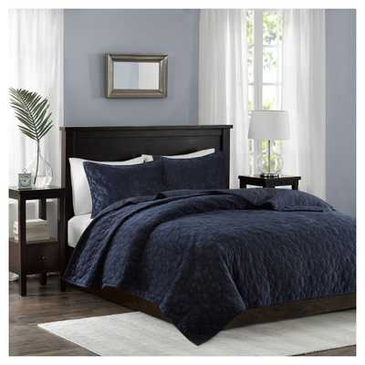 Navy (Blue) Mercer Polyester Velvet Quilt Set (Full/Queen) - Target