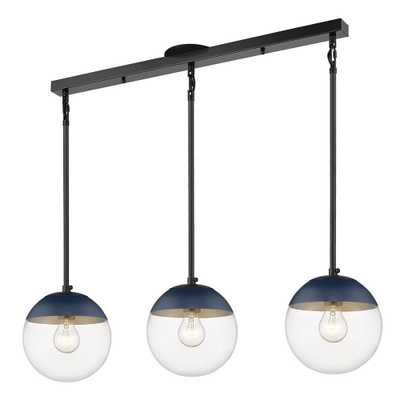 Golden Lighting Dixon Linear Pendant in Black with Clear Glass and Navy Cap - Home Depot