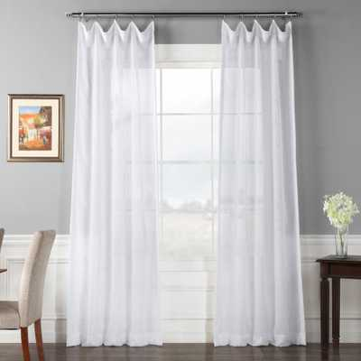 Exclusive Fabrics & Furnishings Signature Double Layered White Sheer Curtain - 50 in. W x 108 in. L (1-Panel) - Home Depot