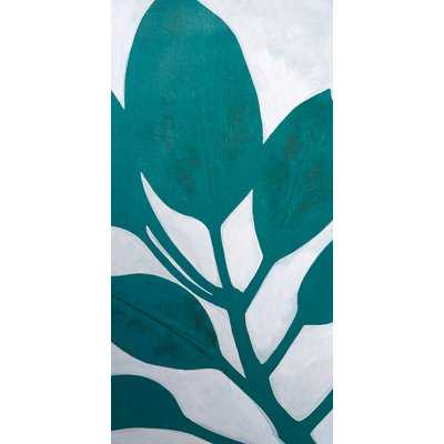 Narrow 'Teal Leaves III' Acrylic Painting Print on Stretched Canvas - Wayfair