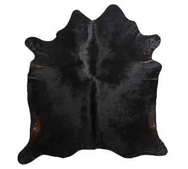 Solid Cow Hide Rug, 6 x 7.6', Black - Pottery Barn