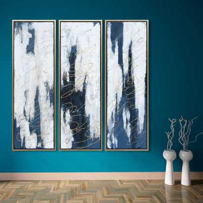 Empire Art Direct Blue Textured Metallic Hand Painted by Martin Edwards Framed Abstract Triptych Set Canvas Wall Art - Home Depot