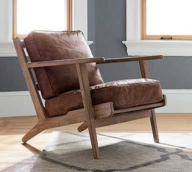 Raylan Leather Armchair with Brown Frame, Down Blend Wrapped Cushions, Nubuck Fawn - Pottery Barn