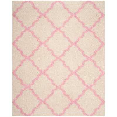 Dallas Shag Ivory/Light Pink 8 ft. X 10 ft. Area Rug - Home Depot