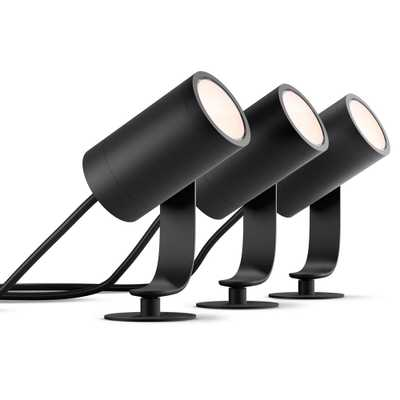 Hue White and Color Ambiance Lily Black Outdoor Integrated LED Landscape Smart Wireless Lights (3-Pack) - Home Depot