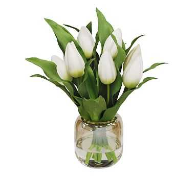 "Faux Tulip In Vase, White, 13"" - Pottery Barn"