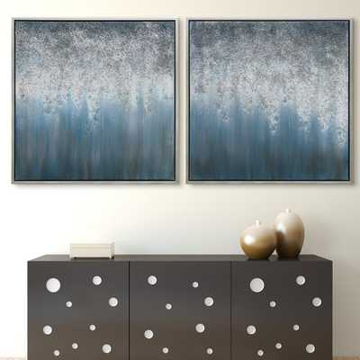 Empire Art Direct Blue Rain Textured Metallic Hand Painted by Martin Edwards Framed Abstract Diptych Set Canvas Wall Art, Silver - Home Depot