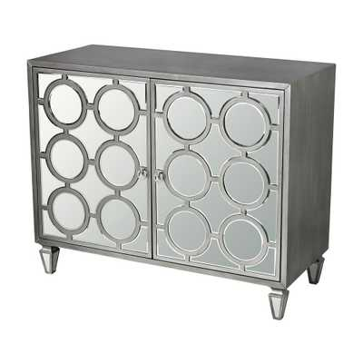 Silver Mirrored Storage Cabinet, Clear Mirror With Silver - Home Depot