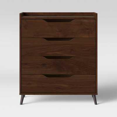 4 Drawer Modern Gallery Dresser Walnut Brown - Room Essentials - Target