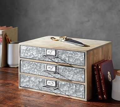 Brokers Wood & Galvanized Paper Cabinet - Pottery Barn