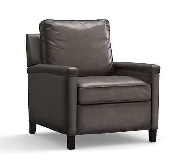 Tyler Square Arm Leather Recliner With Bronze Nailheads, Down Blend Wrapped Cushions, Burnished Wolf Gray - Pottery Barn
