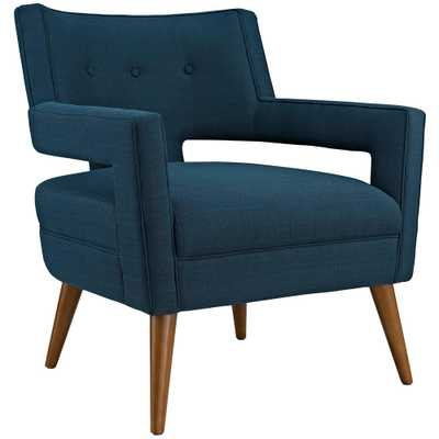 Azure (Blue) Sheer Upholstered Fabric Arm Chair - Home Depot