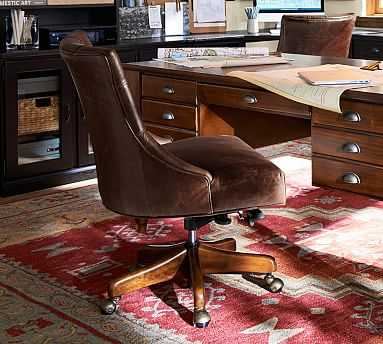 Hayes Tufted Leather Swivel Desk Chair with Mahogany Frame, Leather Statesville Espresso - Pottery Barn