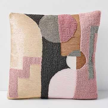 Embellished Deco Shapes Pillow Cover, Adobe Rose - West Elm