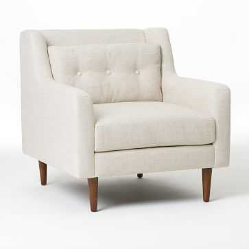 Crosby Mid-Century Armchair, Luxe Boucle, Angora Beige, Pecan - West Elm