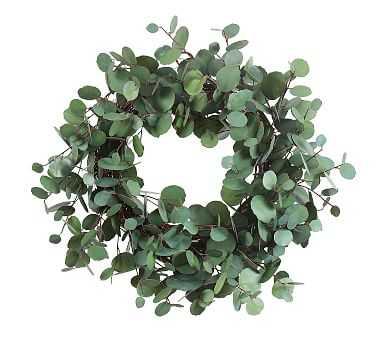 "Faux Eucalyptus Wreath, Green - 24"" - Pottery Barn"