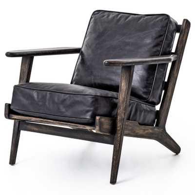 Rider Mid Century Modern Oak Black Leather Armchair - Kathy Kuo Home