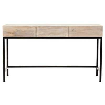 Anjou White Wash Desk with Storage - Home Depot