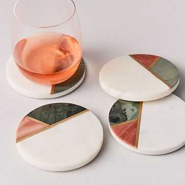 Mixed Marble Coasters, Set of 4 - West Elm
