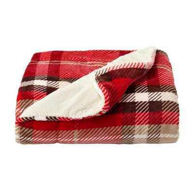 Oversized Plush Vineyard Plaid Poly Fleece Sherpa Throw Blanket - Home Depot