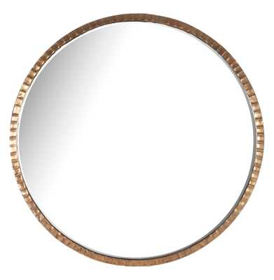 Yorkville Hollywood Regency Large Thin Round Wall Mirror - Kathy Kuo Home