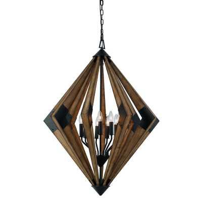 "Arezzo Wood Chandelier Light Brown 33.9""x12.3"" - Cal Lighting - Target"