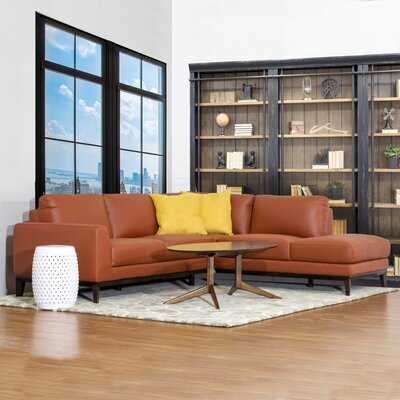 Lorimer Grey Leather Sectional Sofa Left Facing - Wayfair