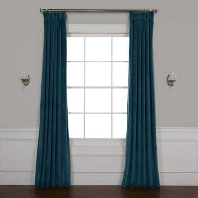 Exclusive Fabrics & Furnishings Deep Sea Teal Blue Heritage Plush Velvet Curtain - 50 in. W x 96 in. L - Home Depot