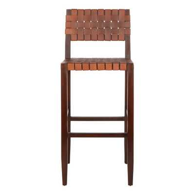 Paxton Woven Leather Barstool Cognac (Red) - Safavieh - Target