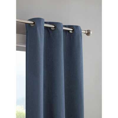 Bella Luna Henley Faux Linen Room Darkening 76 in. x 96 in. Grommet Curtain Panel Pair in Indigo (Blue) - Home Depot