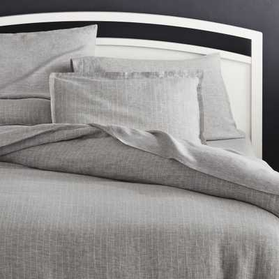 Linen Pinstripe Grey King Duvet Cover - Crate and Barrel