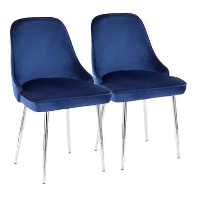 Lumisource Marcel Navy Blue Velvet and Chrome Dining Chair (Set of 2), Navy Blue/Grey - Home Depot