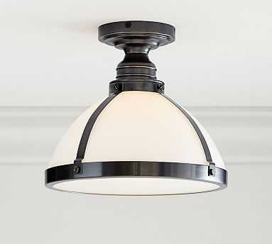 PB Classic Industrial Milk Glass Hood + Bronze Flushmount Kit, Large - Pottery Barn