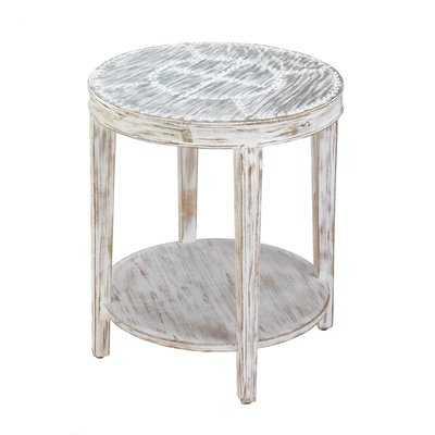 Seward Distressed Round Wood End Table - Wayfair
