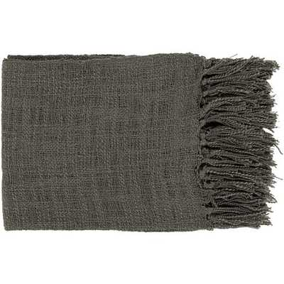 Alden Throw Blanket, Charcoal - Cove Goods