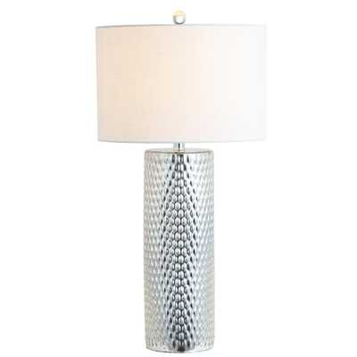 JONATHAN Y Isabella 30 in. Silver Glass Table Lamp - Home Depot