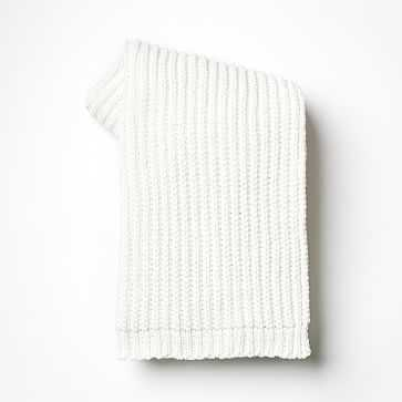 Chenille Rib Throw, Stone White - West Elm
