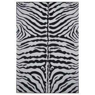 Zebra Skin Black Nylon Area Rug (8' x 11') - Overstock