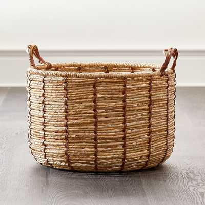 Emory Small Cognac Leather Handle Basket - Crate and Barrel