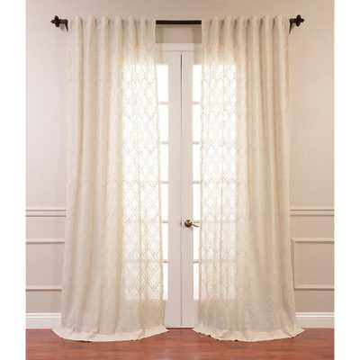 Exclusive Fabrics & Furnishings Saida Embroidered Faux Linen Sheer Curtain in Natural Ivory - 50 in. W x 96 in. L - Home Depot