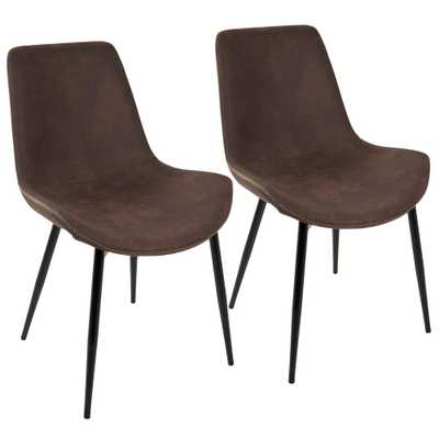 Duke Black and Espresso Dining Chair (Set of 2), Brown/Black - Home Depot